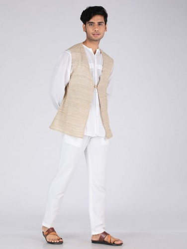 Krish Golden Biege Jute Silk Over Jacket