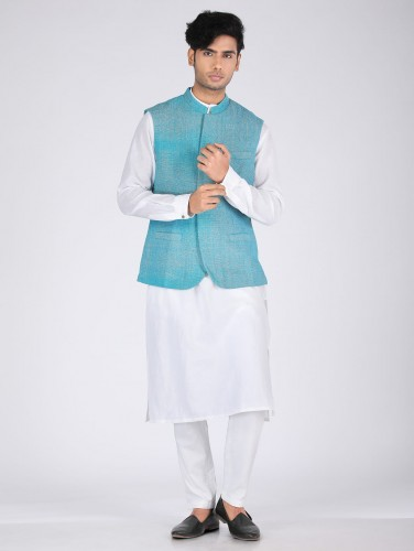 Nilay Teel Blue Matka Silk Nehru Jacket