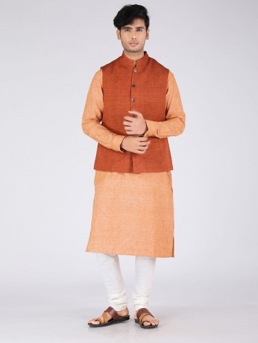 Kanav Orange Cotton Nehru Jacket