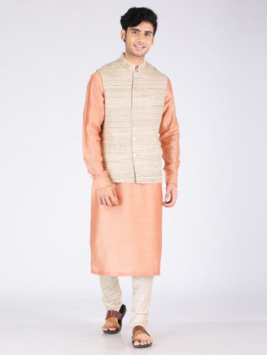Aatish Beige Silk Nehru Jacket