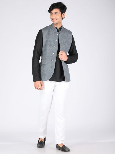 Kanav Grey Cotton Nehru Jacket