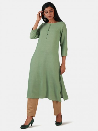 Bagh Tender Green Cotton Kurta