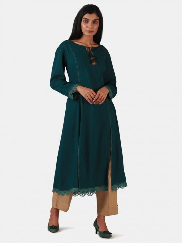 Idya Atlantic Green Flare Cotton Kurta