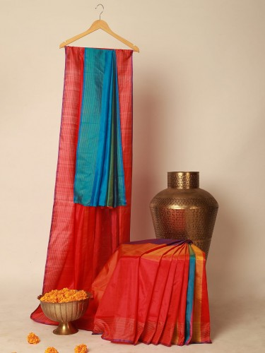 Red And Blue Mulberry Silk Saree
