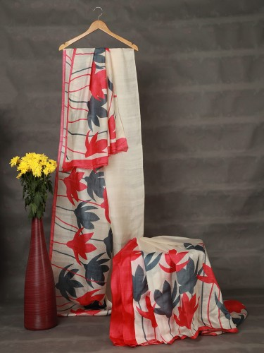 White Mulberry Silk Saree