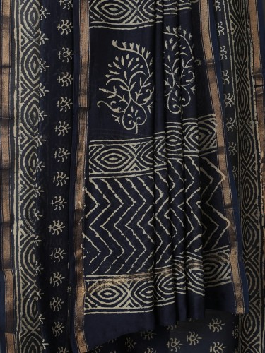 Navy Blue Mercerised Cotton Saree