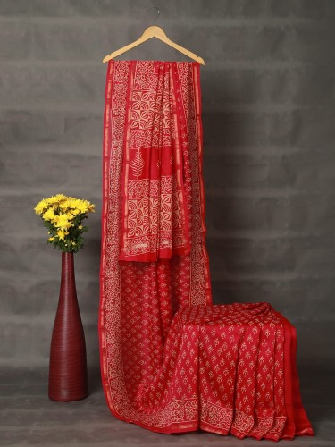 Bright Red Mercerised Cotton Saree