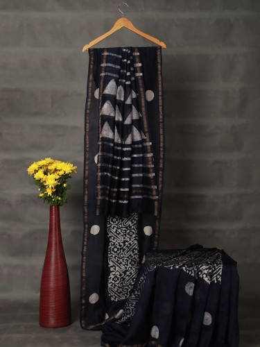 Dark Blue Mercerised Cotton Saree