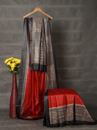 Red Tussar Silk Madhubani Saree