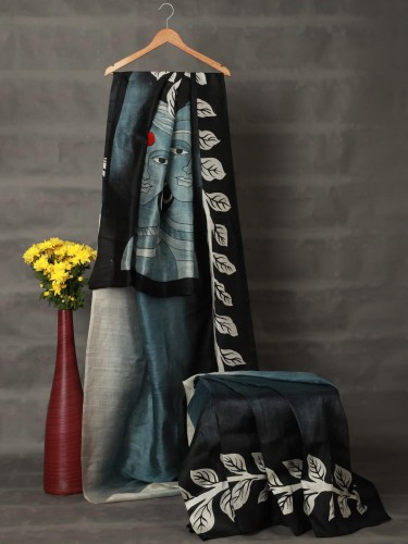 Gradient Grey Mulberry Silk Saree
