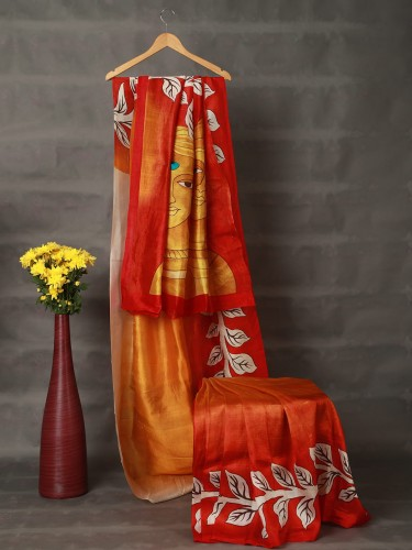 Gradient Red Mulberry Silk Saree